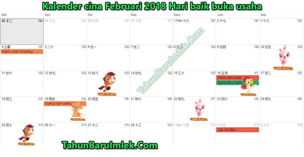 Kalender cina Februari 2018 Hari baik buka usaha