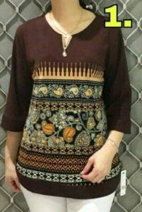 baju imlek wanita warna coklat blouse
