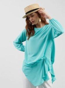 baju imlek wanita warna cyan SHIO MONYET