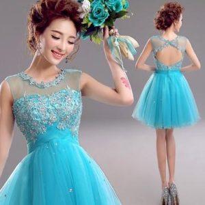 baju imlek wanita warna cyan gaun shio ayam
