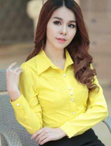 baju imlek wanita warna cyan kemeja lengan panjang 2018 SHIO BABI