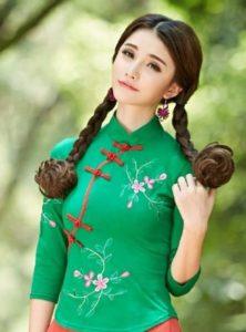 baju imlek wanita warna hijau shio ular cheongsam atasan