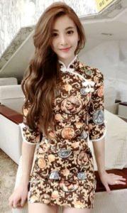 baju imlek wanita warna krem cheongsam 2018 shio harimau