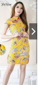 baju imlek wanita warna kuning dress cheongsam shio kambing