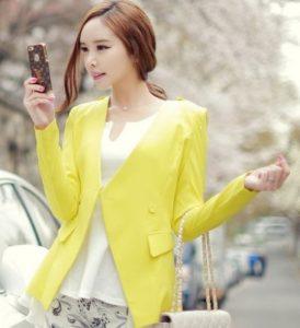 baju imlek wanita warna kuning motif korea 2018 SHIO MONYET