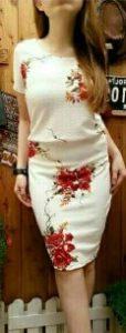 baju imlek wanita warna putih setelan rok shio kuda