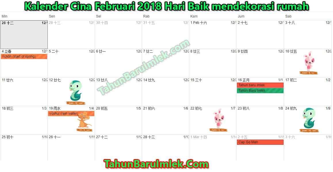 Kalender Februari 2018 Hari Baik mendekorasi rumah menurut feng