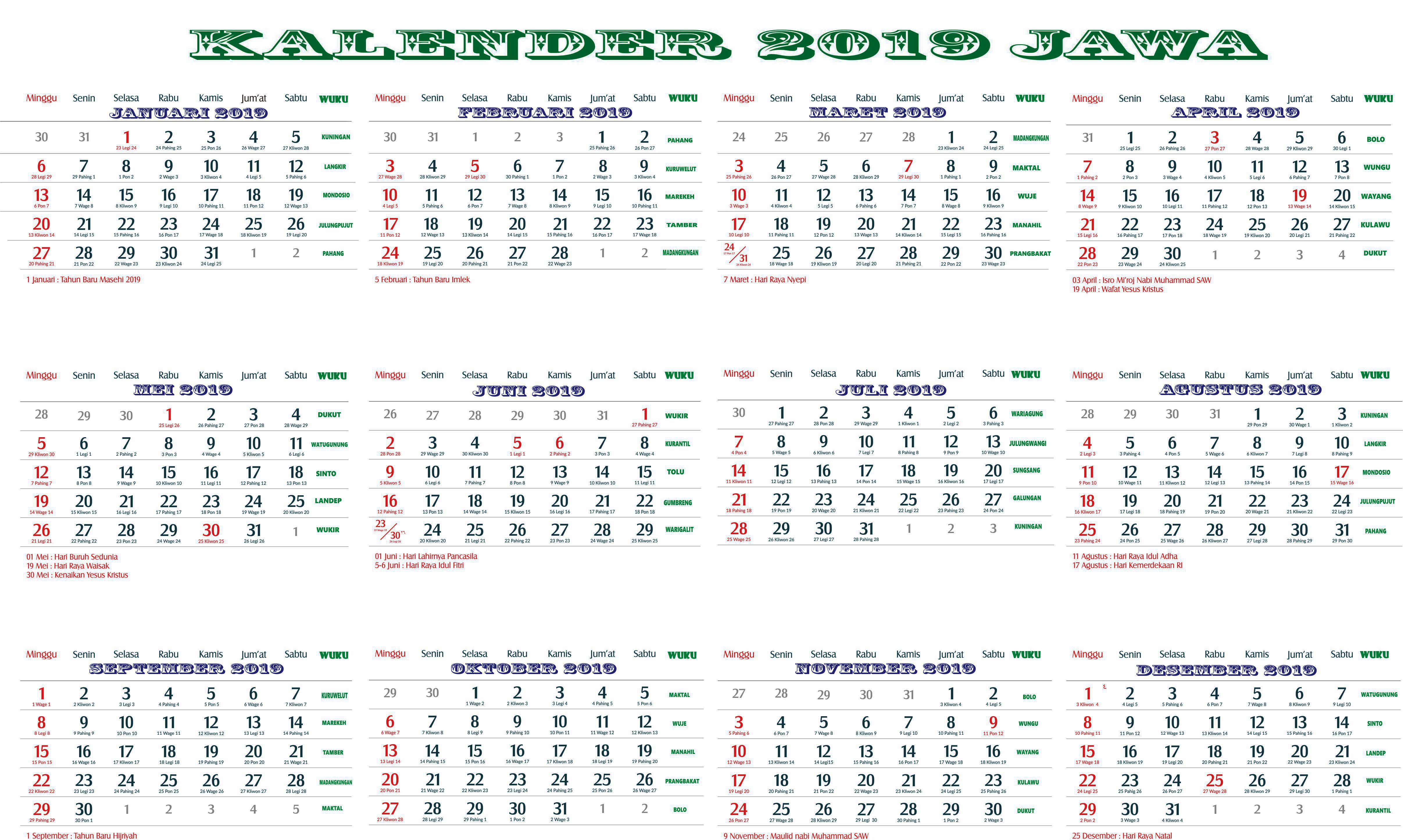 Kalender 2019 jawa lengkap bulan, Hari Pasaran dan Wuku Hari