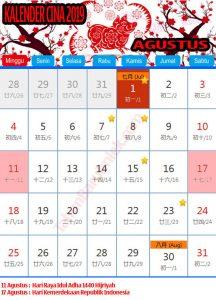 Kalender cina 2020 AGUSTUS