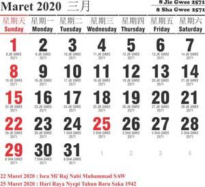 kalender cina maret 2020