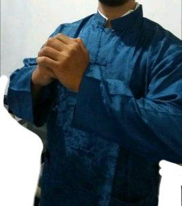 Baju imlek pria model koko warna biru cerah