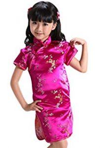 baju imlek anak perempuan model dress bamboo warna Pink Fuchsia