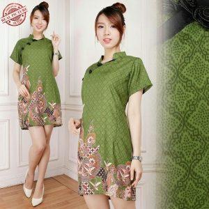 model baju imlek Batik Sincia Cheongsam warna hijau-shio tikus
