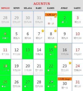 Kalender cina 2019 Hari Baik Bepergian (travel) bulan Agustus