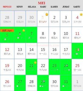 Kalender cina 2019 Hari Baik Bepergian (travel) bulan Mei