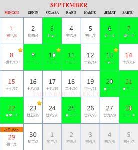 Kalender cina 2019 Hari Baik Bepergian (travel) bulan September