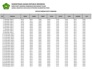 jadwal imsakiyah 2019-1440H kalimantan utara-kota tarakan