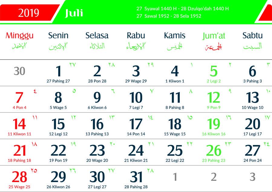 kalender 2019 jawa juli