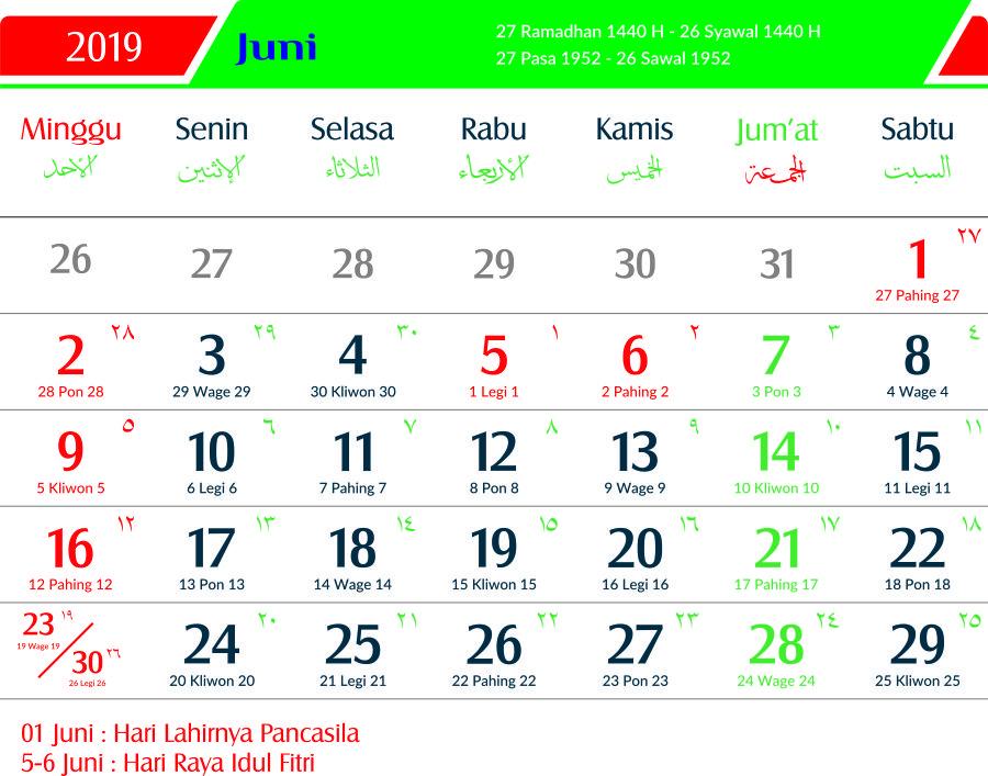 Kalender 2019 Juni Jawa Lengkap Hari Pasaran Dan Wuku Hari