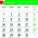 Kalender 2019 Oktober Jawa lengkap Hari Pasaran dan Wuku Hari