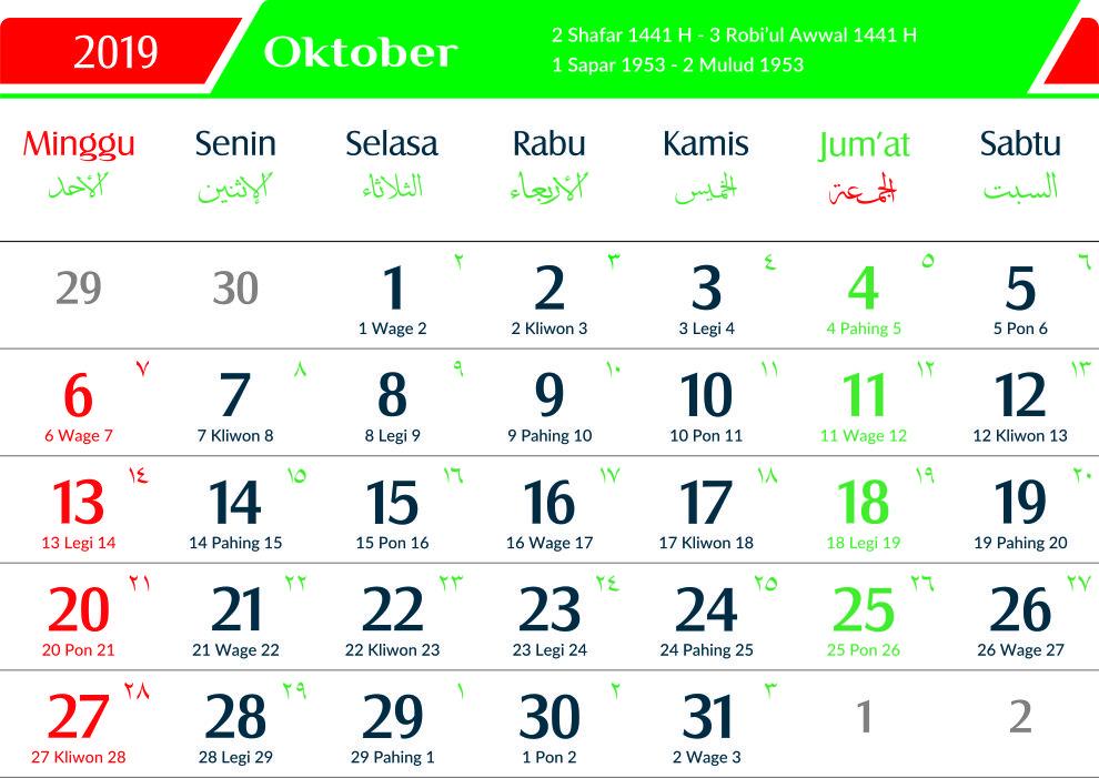 kalender 2019 jawa oktober