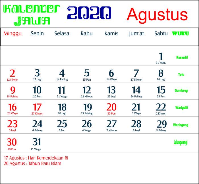 kalender 2020 jawa agustus