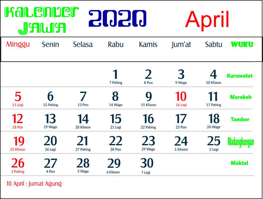 kalender 2020 jawa april
