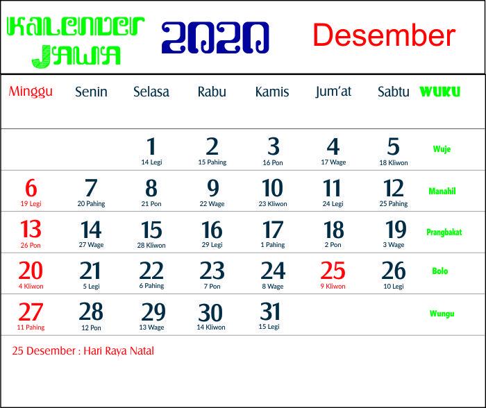 kalender 2020 jawa desember