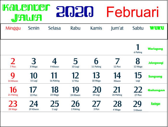 kalender 2020 jawa februari