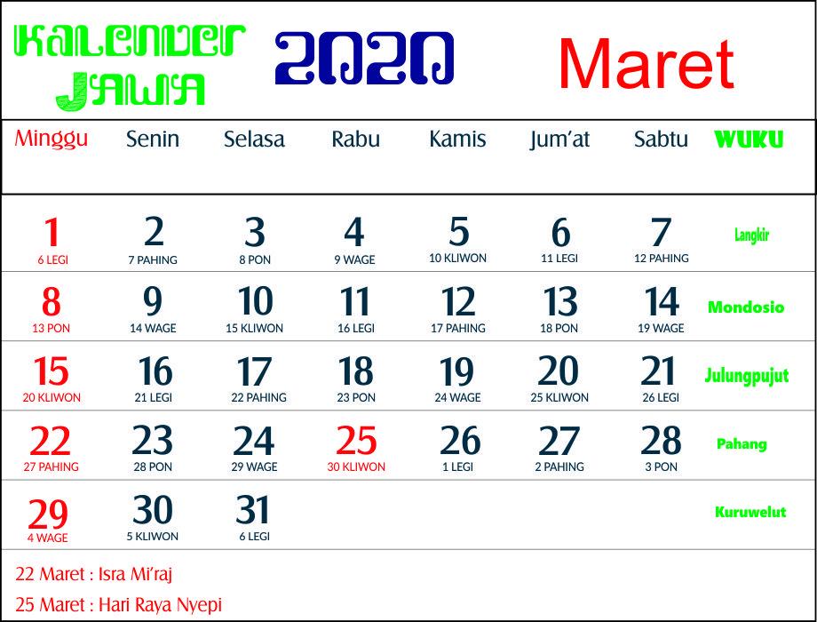 kalender 2020 jawa maret