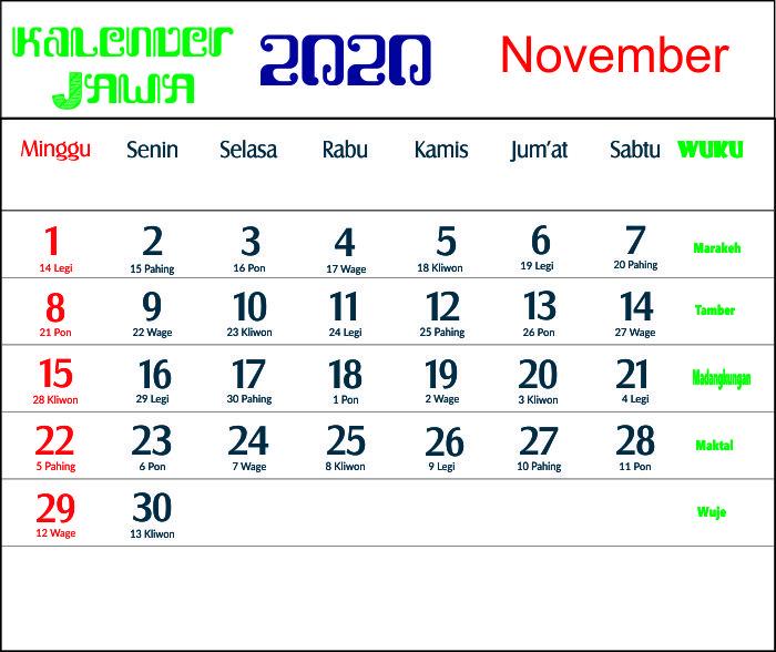 kalender 2020 jawa november