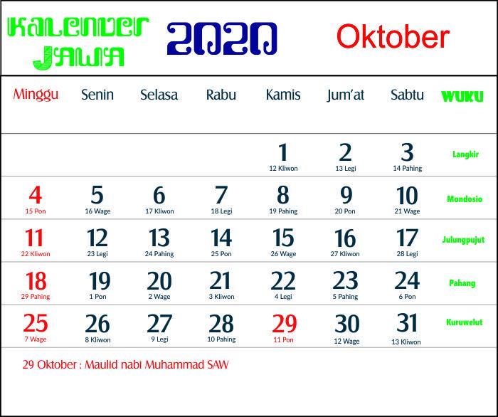 kalender 2020 jawa oktober