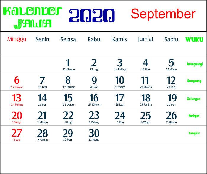 kalender 2020 jawa september