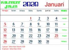 kalender 2020 jawa januari