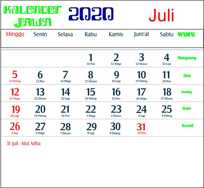 kalender 2020 jawa juli