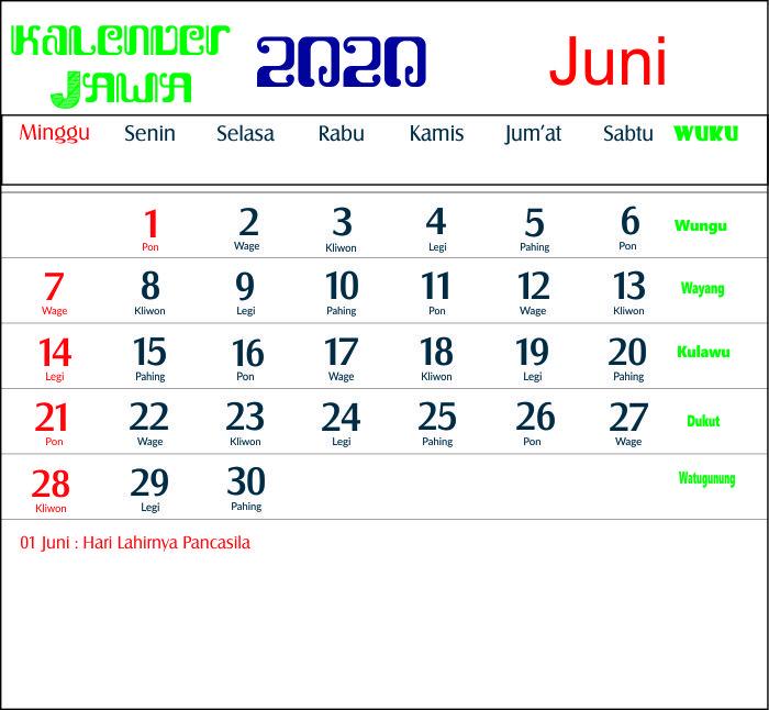 kalender 2020 jawa juni