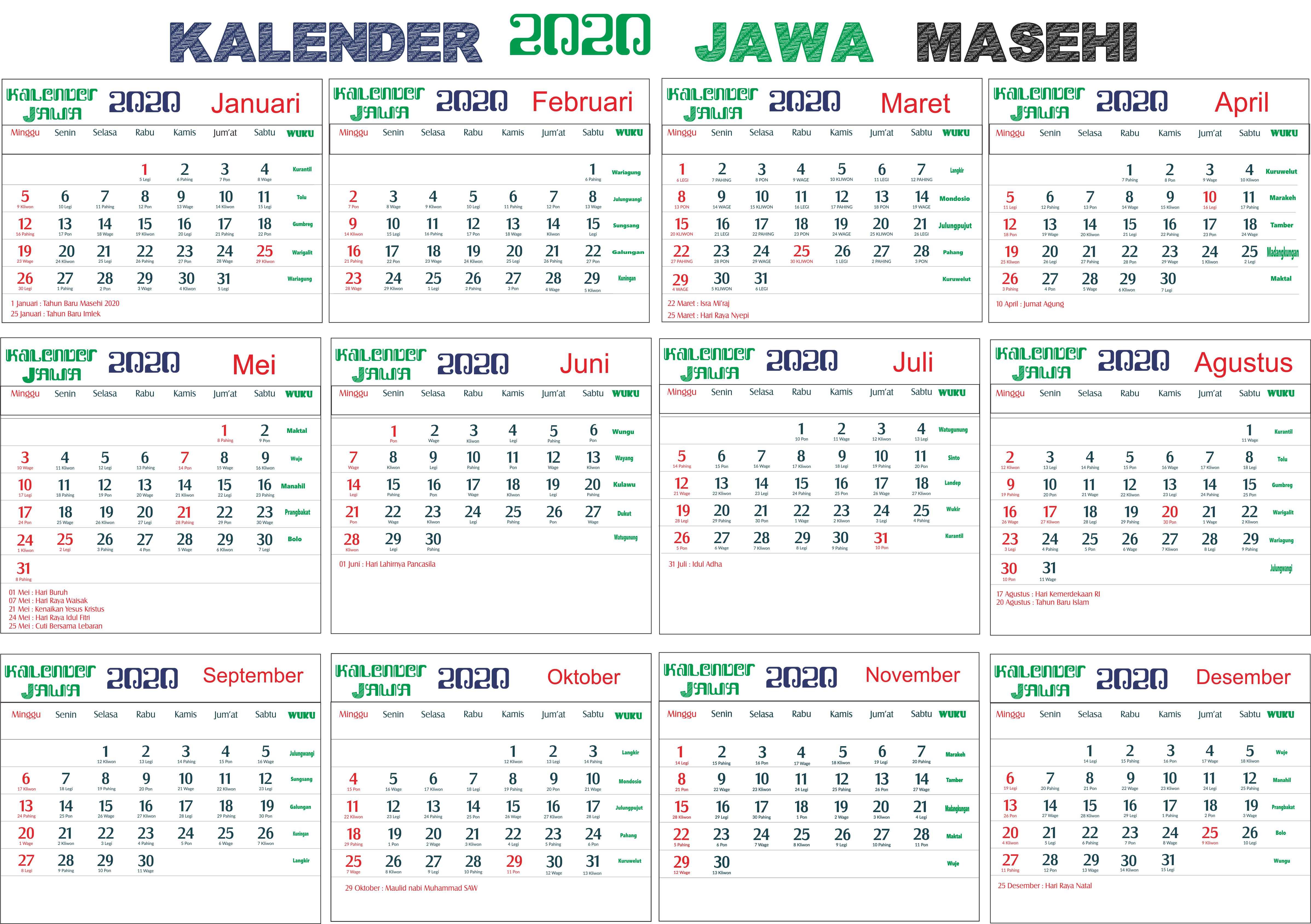 Kalender 2020 Jawa Lengkap Bulan Hari Pasaran Dan Wuku Hari