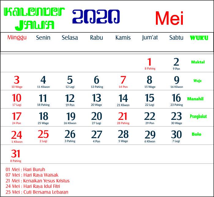 Kalender 2020 Indonesia Jawa Lengkap 12 Bulan