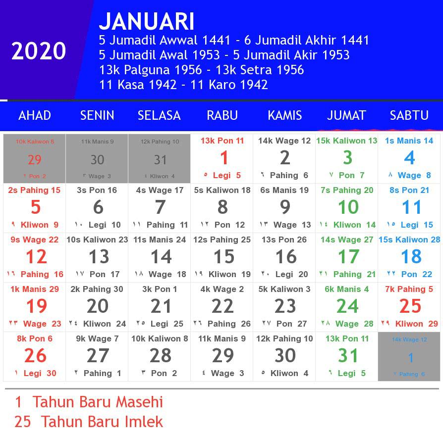 Kalender Januari 2020