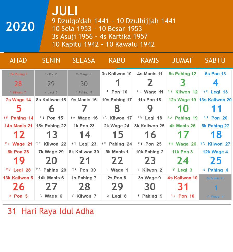 Kalender Juli 2020