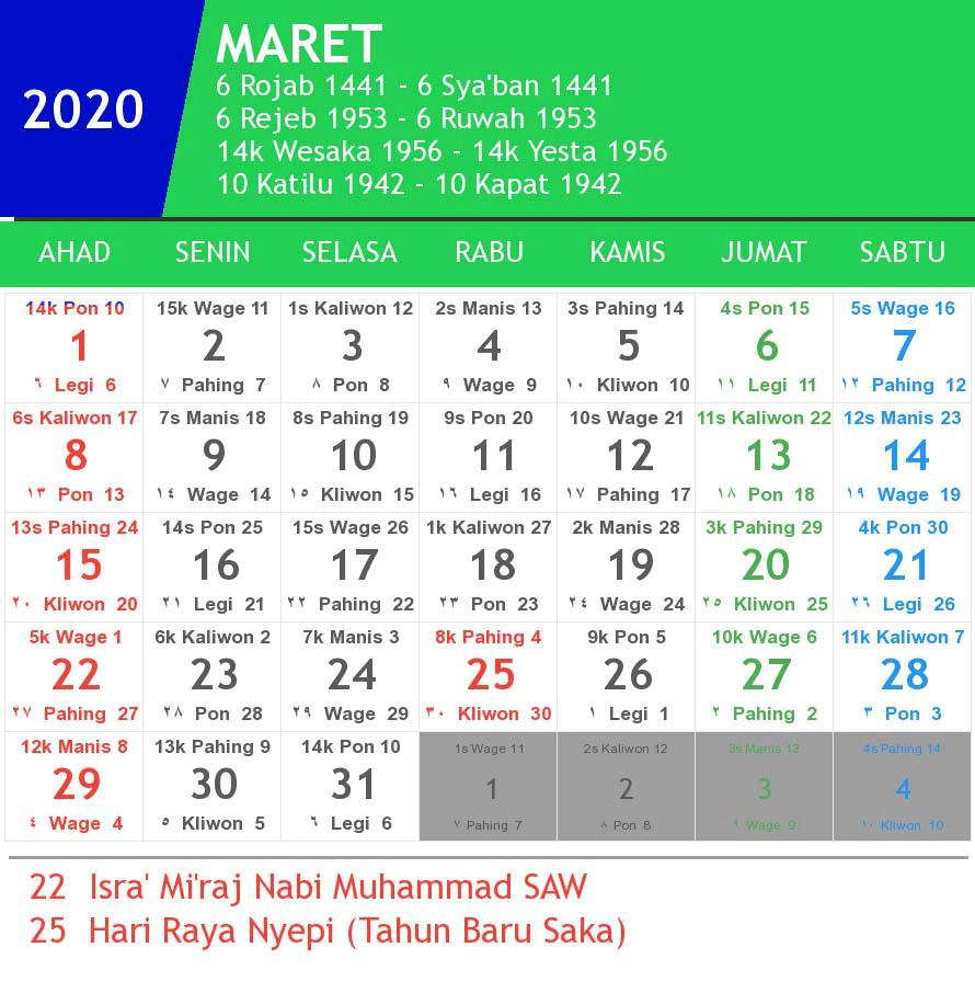 Kalender Maret 2020