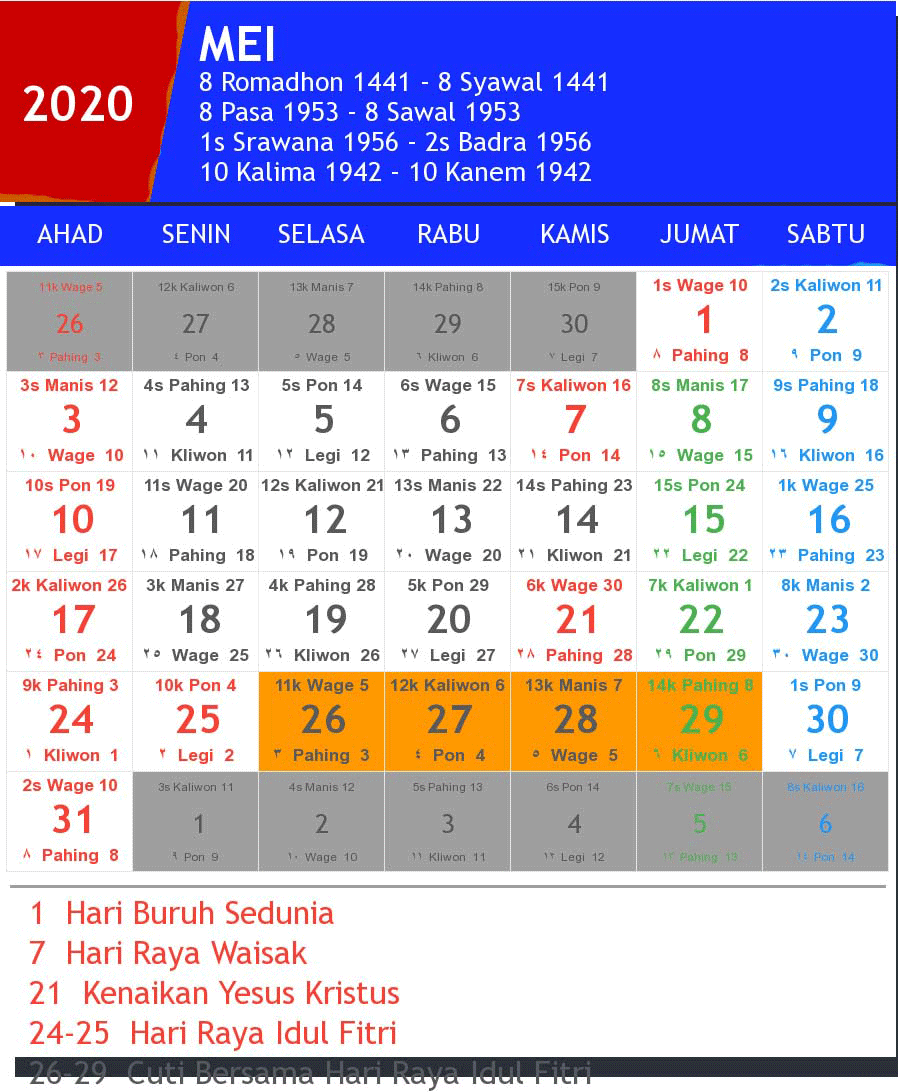 Kalender Mei 2020