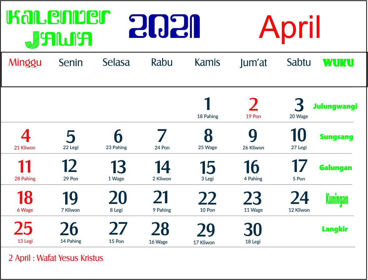 Kalender 2021 Indonesia Jawa Lengkap 12 Bulan Hari Baik ...