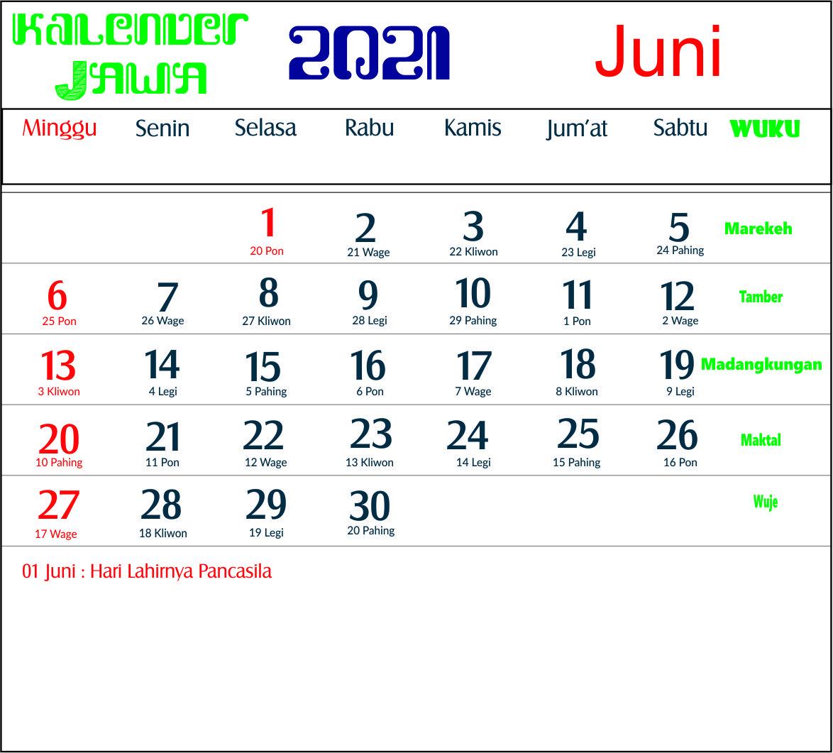 Kalender 2021 Indonesia Jawa Lengkap 12 Bulan Hari Baik Dan Buruk