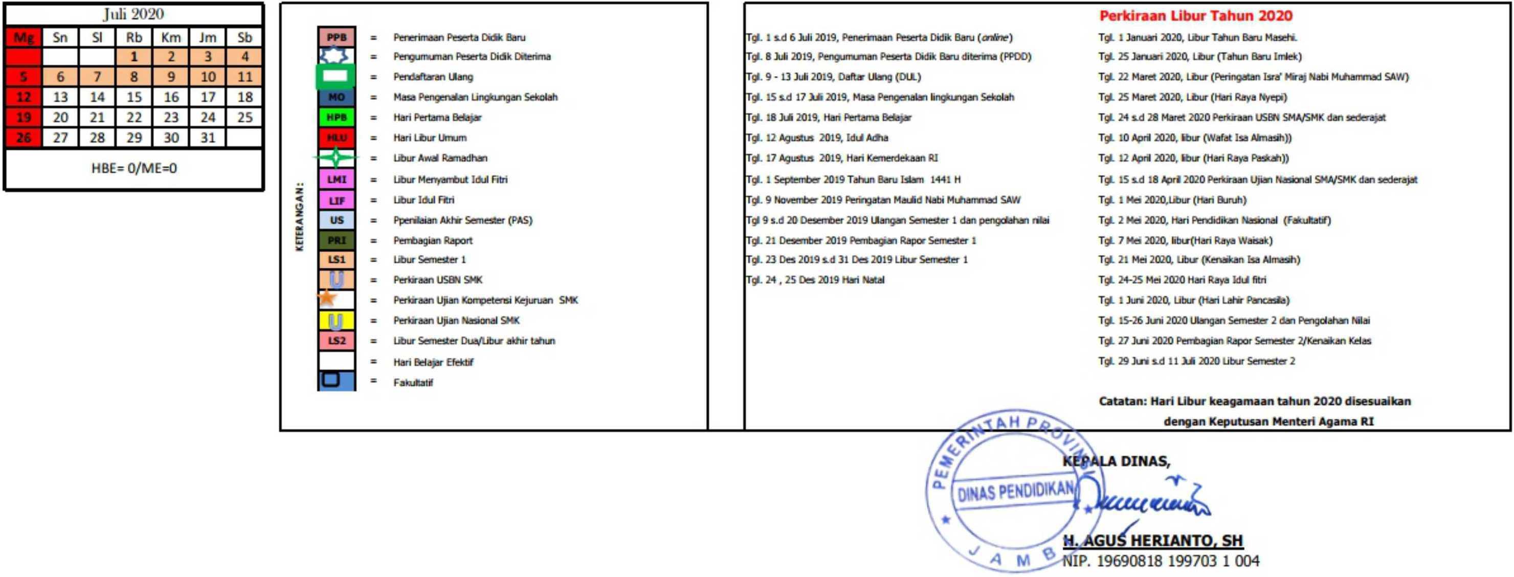 Kalender Pendidikan Provinsi Jambi tahun pelajaran 2019-2020