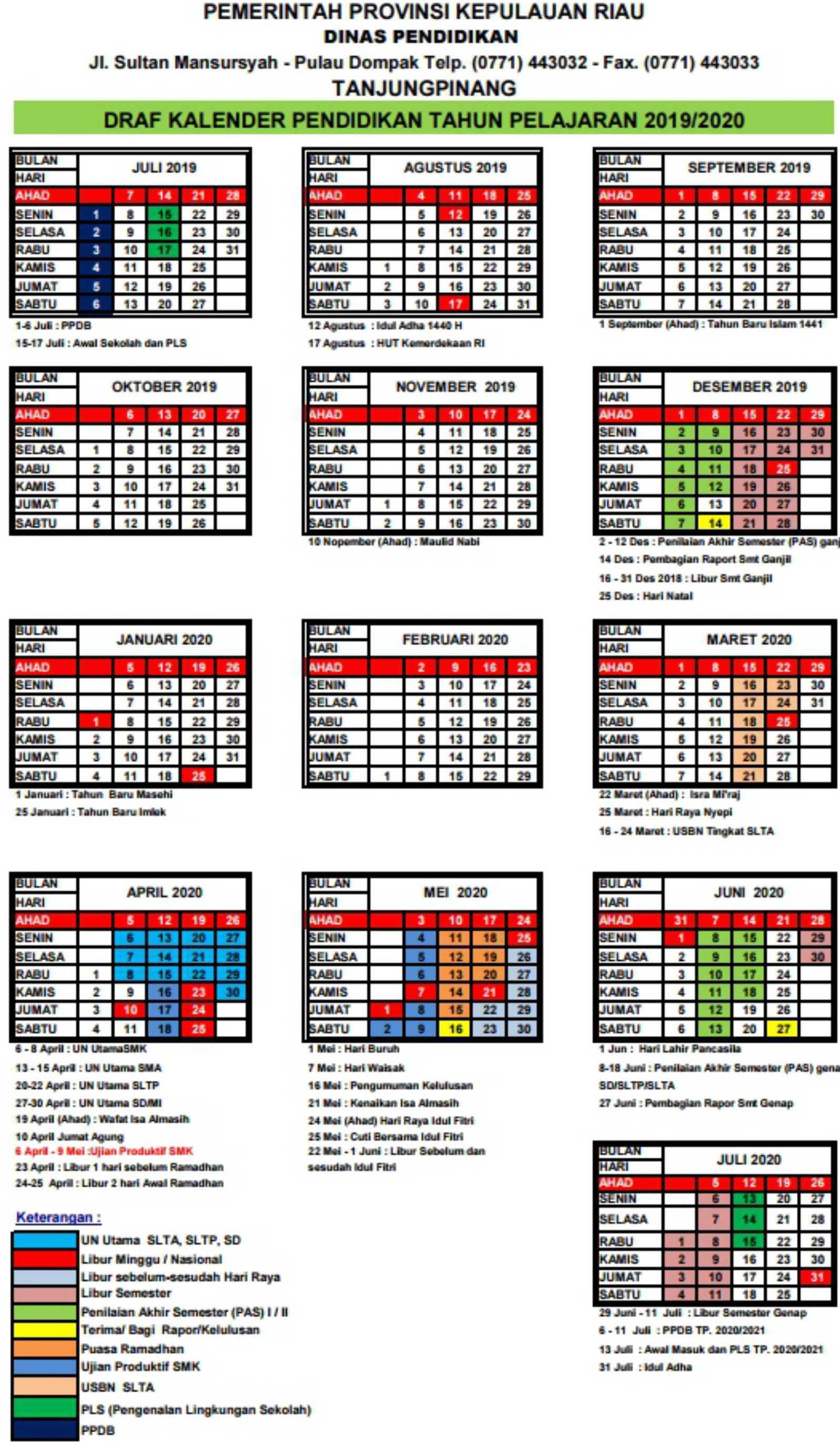 Kalender Pendidikan Provinsi Riau tahun pelajaran 2019 - 2020