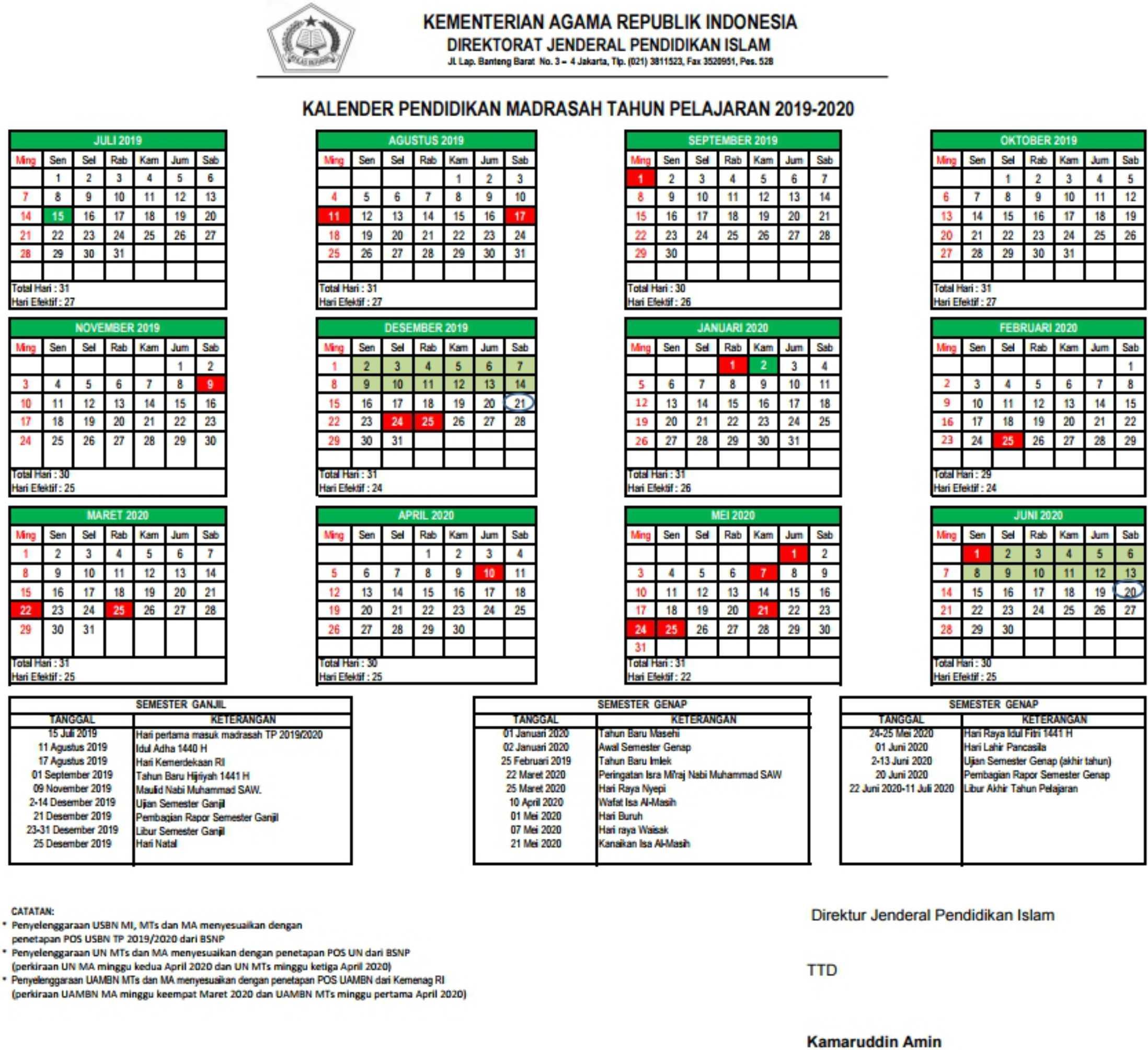 Kalender pendidikan madrasah tahun pelajaran 2019-2020