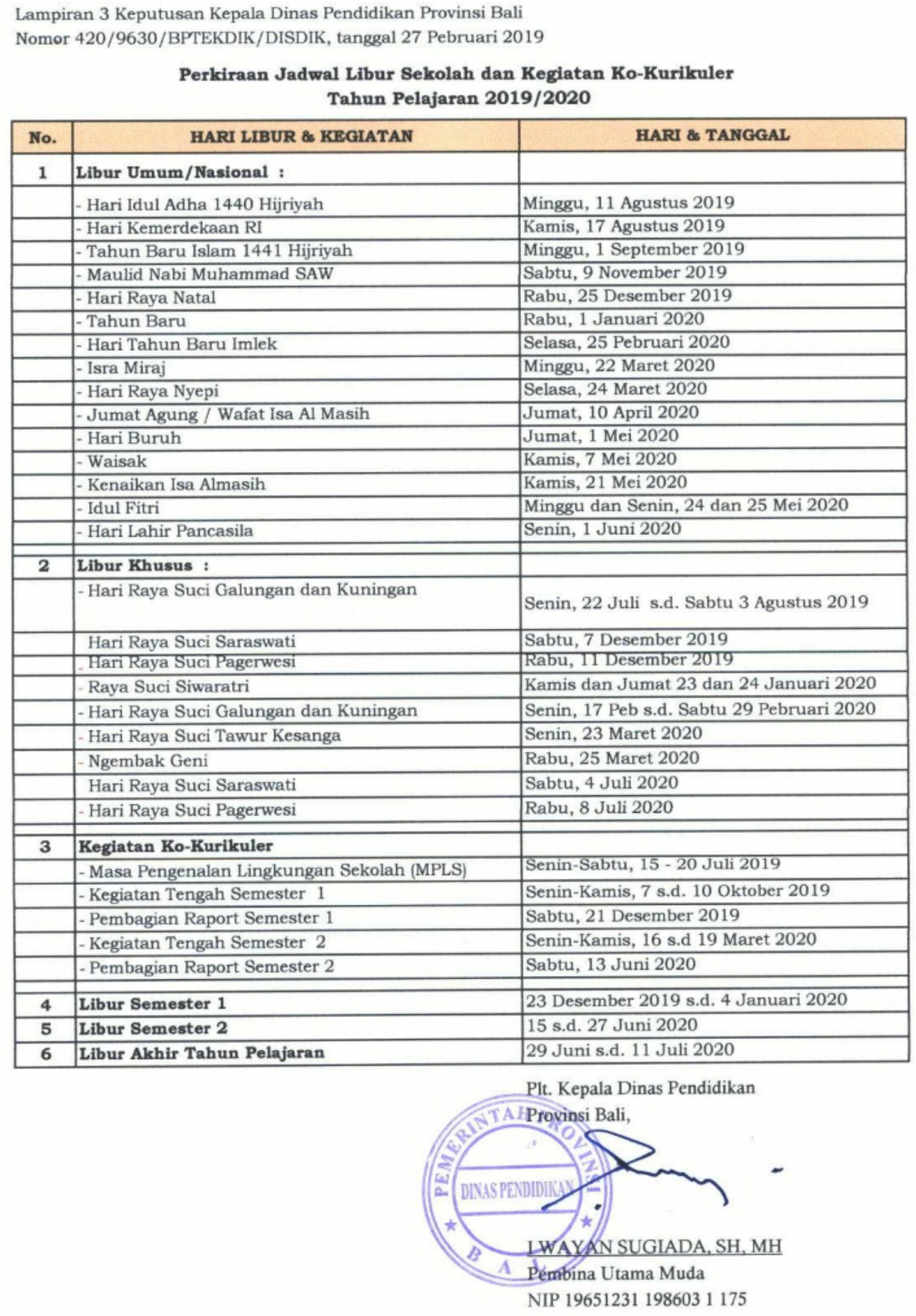 Perkiraan jadwal libur sekolah dan kegiatan ko-kurikuler tahun pelajaran 2019-2020