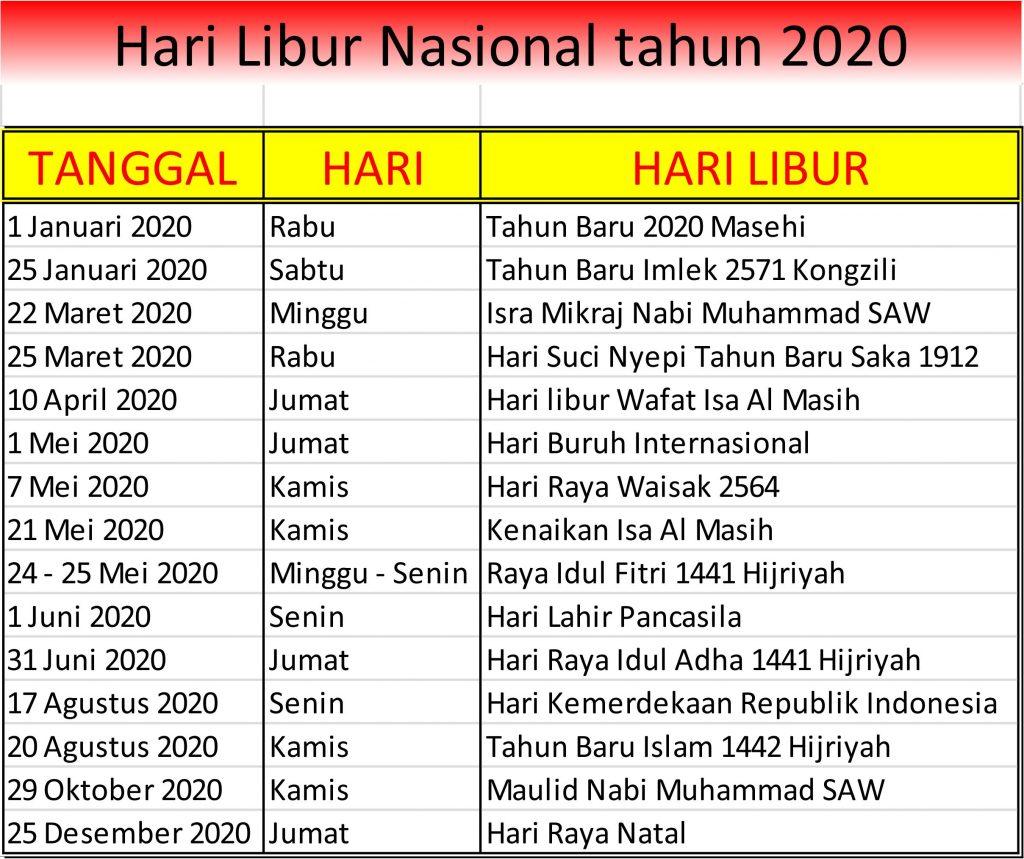 Hari Libur Nasional Dan Cuti Bersama Tahun 2020