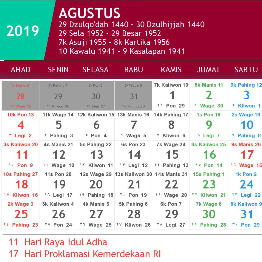 kalender agustus 2019